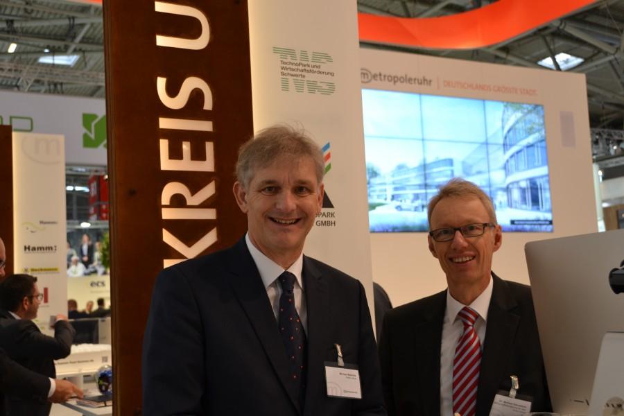 Im vergangenen Jahr begleitetet Landrat Michael Makiolla (l.) das Team um WFG-Geschäftsführer Dr. Michael Dannebom zur Expo Real nach München. (Foto: WFG - Ute Heinze)
