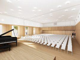 So wird der in schlichtem Weiß und helles Holz gehaltene künftige Bürgersaal aussehen. (Foto: RENDERBAR für Bez+Kock Architekten)
