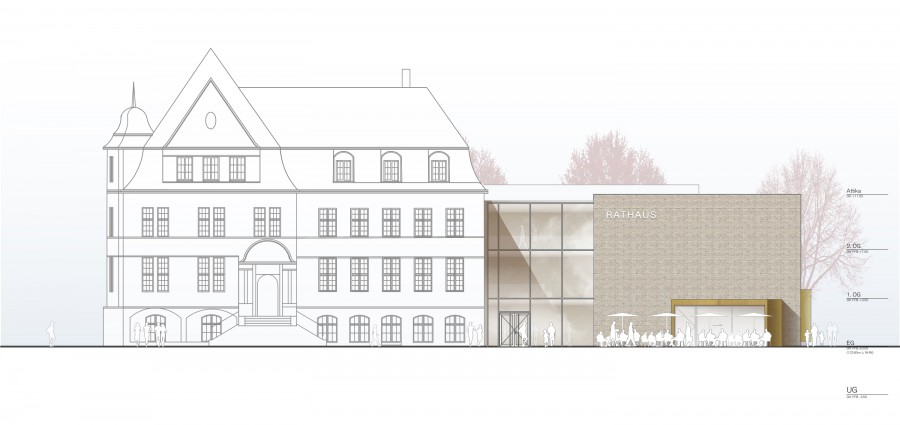Diese im Rat präsentierte Zeichnung die aktuelle Ansicht des Neubaus dar.  (Foto: RENDERBAR für Bez+Kock Architekten)