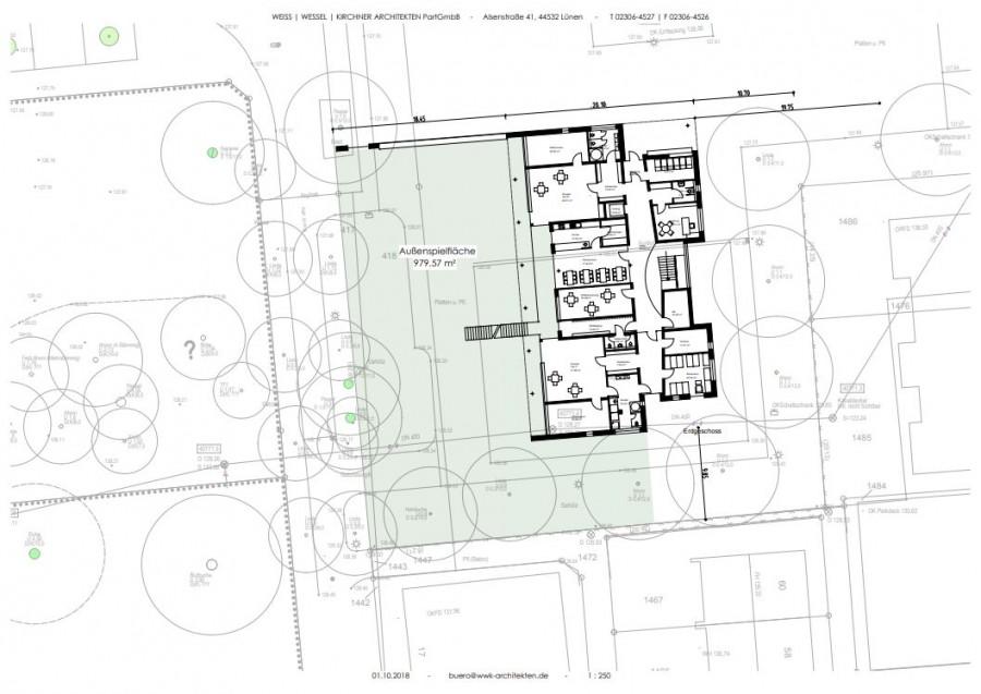 Von der Verwaltung heute veröffentlicht: die vom Ingenieurbüro eingemessene Planung für die Kita auf dem Festplatz.