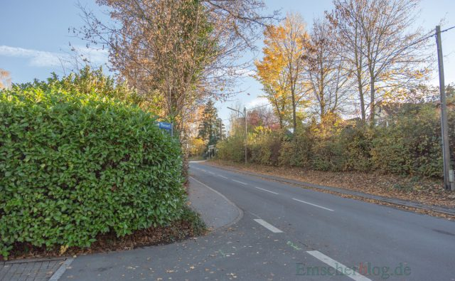 Bei der Ausfahrt aus dem unteren Stennert sind Radfahrer von links auf dem Rad- und Gehweg nur sehr spät erkennbar. Deshalb müssen Fahrradfahrer in diesem Bereich nun die Straße nutzen. (Foto: P. Gräber - Emscherblog.de)