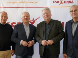 v.l.: Matthias Hartmann (Geschäftsführer KSB Unna), Klaus Stindt (Vorsitz KSB Unna), Hartmut Ganzke (Vorsitzender AWO (Ruhr, Lippe, Ems), Rainer Goepfert (Geschäftsführer AWO Ruhr-Lippe-Ems)