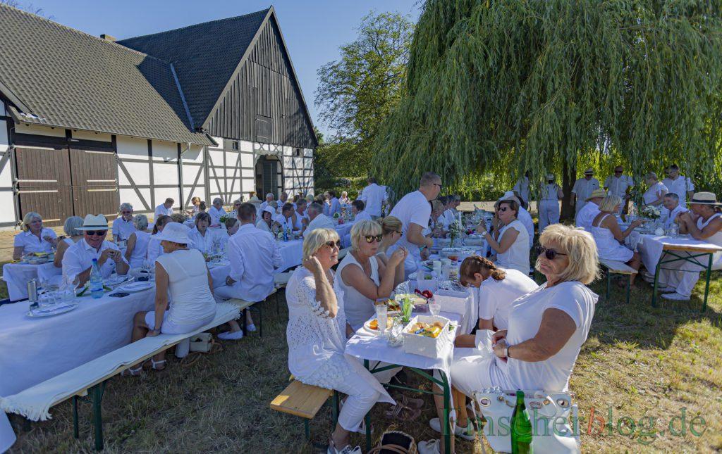 Der Freundeskreios und seine Gäste trafen sich heute (29. Juni) Abend zum stimmungsvollen Picknick in Weiß am Emscherquellhof. (Foto: P. Gräber - Emscherblog)