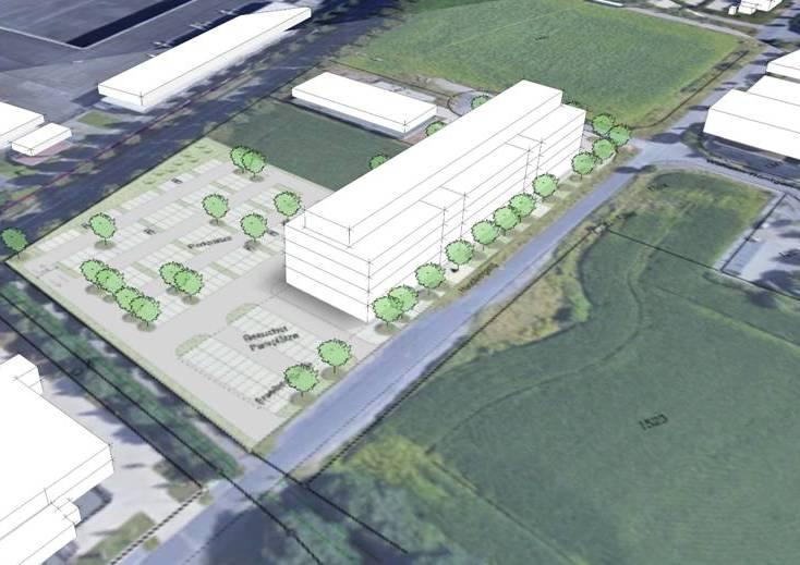 So könnte das Gebäude des CVUA in Holzwickede aussehen. Doch das Grundstück lässt viele Gestaltungsvarianten offen, eines der Vorteile, warum man sich für den EcoPort entschieden hat. (Planungsskizze: CVUA)