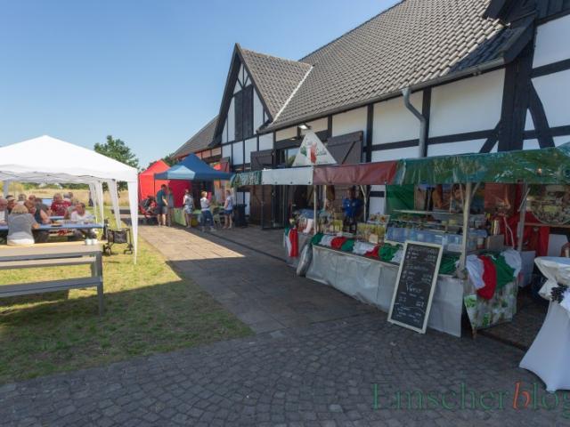 Der Streetfood Markt am Emscherquellhof war auch schon in der Mittagszeit recht gut besucht. (Foto: P. Gräber - Emscherblog)