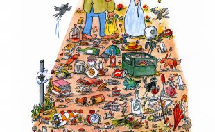 Mit diesem Plakat von Klaus Pfcauter, das noch mit dem Sammeltermin versehen wird, wirbt der Seniorenbeirat für seine Müllsammlung in der Gemeindemitte.