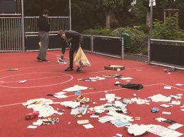 Junge Union räumt vermüllte Multisportanlage auf