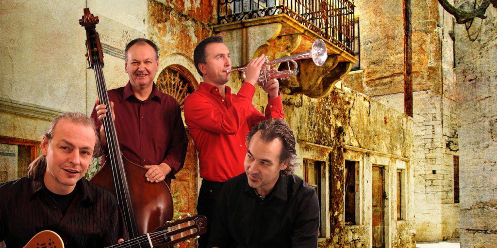 Gastieren zur Ausstellungseröffnung am 15. September auf Haus Opherdicke: das Tropical Turn Quartett mit Buck Wolter, Uli Bär, Dmitrij Telmanov und Benny Mokross (v.l.) (Foto: Kulturverein Westfalen)