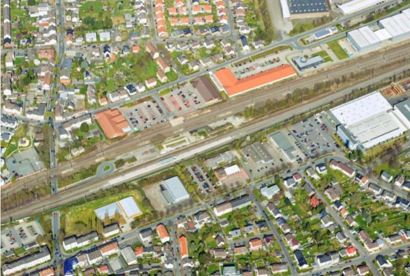 Die Planung für den Holzwickeder Bahnhof und das Umfeld (Foto) wurden im Fachausschuss am Dienstagabend vorgestellt. (Luftbild: Reicher Haase Assoziierte RHA)