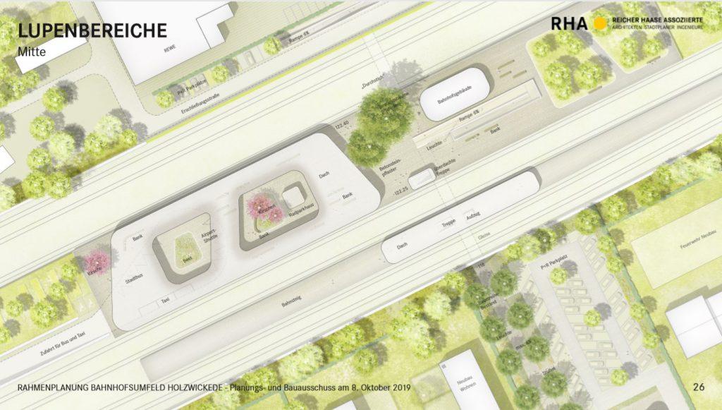 Der  mittlere Bahnsteig soll ein architektonisches Dach erhalten sowie Haltestellen für Taxi, Bus und Airportshuttle, zahlreiche Sitzgelegenheiten und das Bahnhofsgebäude. (Bild: RHA)