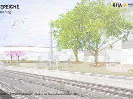 Visualisierung des niveaugleichen Bahnhofs Holzwickede: So stellen sich die Planer den mittleren Teil des Bahnhofs vor. (Bild: RHA)