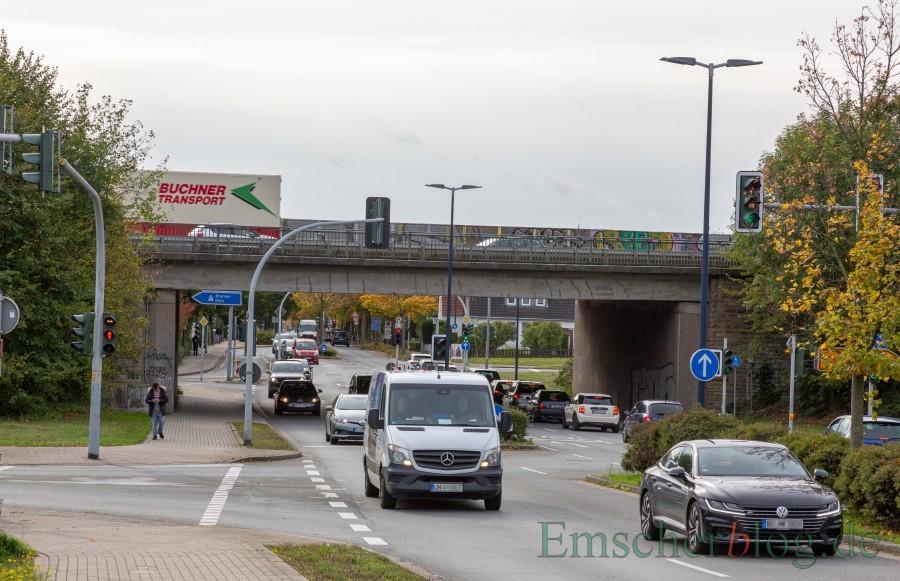 Die Rohrnetzarbeiten der Wasserversorgung im Bereich der Brücke B1/A40 an der Nordstraße (Foto) beginnen am 18. Mai. Der Straßenverkehr wird nicht beeinträchtigt.. (Foto: P. Gräber - Emscherblog)