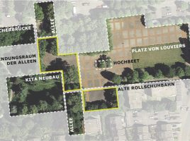 Das Luftbild zeigt die Teilräume am Festplatz. Umgestaltet und ökologisch aufgewertet werden sollen die gelb umrandeten Bereiche. ( Bild: Urbanegestalt)