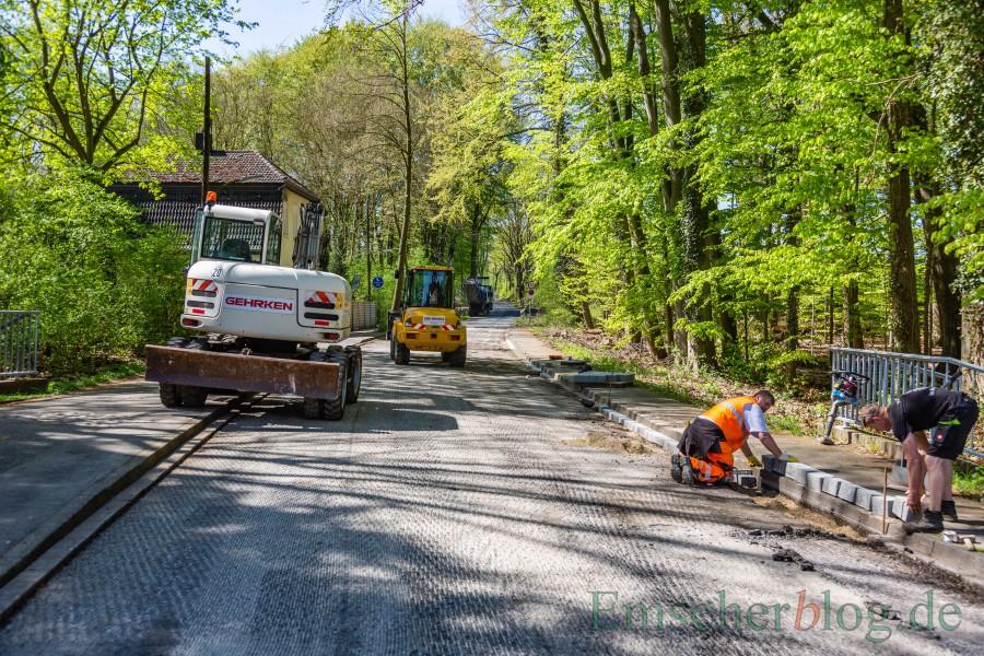 Die Bauarbeiten sind abgeschlossen: Es gibt wieder freie Fahrt auf der Steinbruchstraße. (Foto: P. Gräber - Emscherblog)