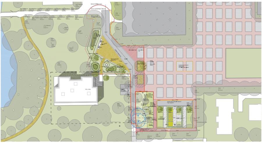 Dieser im Ausschuss vorgestellte Lageplan zeigt eine Übersicht des überplanten Bereichs mit der neuen kita im Parkl (li.) und der entsiegelten alten Rollschuhbahn (unten). (Skizze: Urbangestalt Köln)