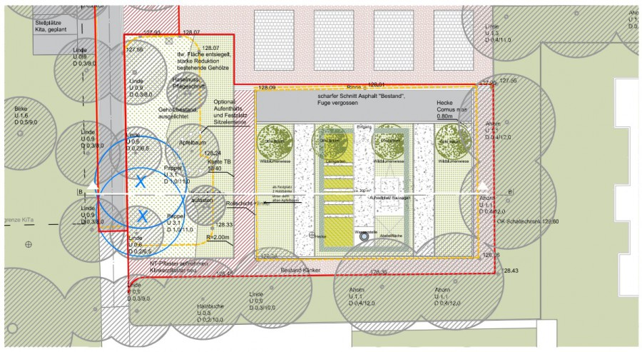 Diese Zeichnung zeigt die Planung für die entsiegelte alte Rollschuhbahn. (Skizze: Urbangestalt Köln)
