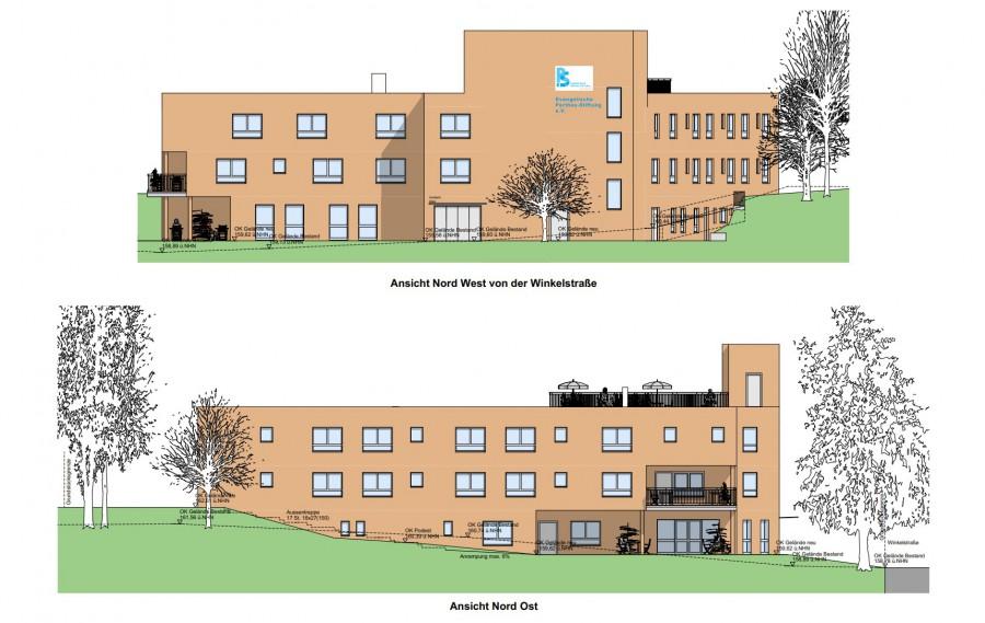 So soll das neue Alten- und Pflegeheim der Perthes-Stiftung aussehen: Außenansicht des Katharina-von-Bora-Hauses. (Skizze: Perthes-Stiftung)
