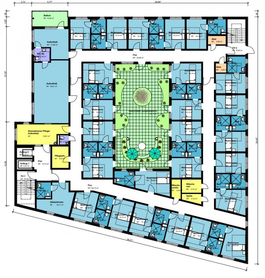 Grundriss der 1. Etage: die 25 Einzelzimmer sind um ein Atrium in der Mitte angeordnet. Die Grundrisse der beiden Etagen sind identisch. (Skizze: Perthes-Stiftung)