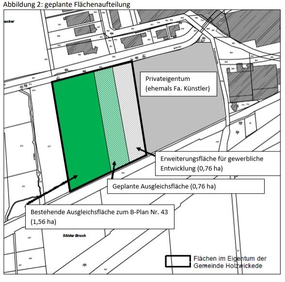 Diese Skizze zeigt die Fläche, um die es geht. Die 0,76 ha große Fläche ist von der Verwaltung für die gewerbliche Weiterentwicklung vorgesehen. (Skizze: Gemeinde Holzwickede)