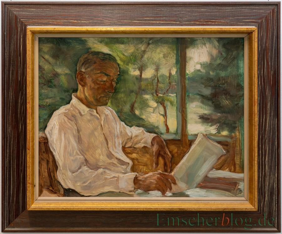 """Ebenfalls in der Ausstellung zu sehen: """"Lesender Mann auf Veranda"""" von Lotte Laserstein, 1940er-Jahre, Öl auf Hartfaser. (Foto P. Gräber - Emscherblog.de)"""