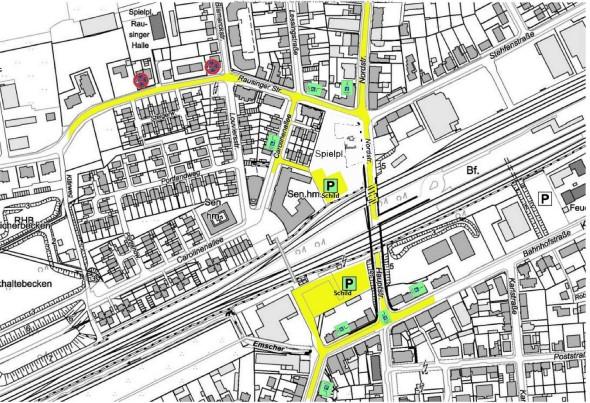So stellt sich die Gemeinde das Parken während der Veranstaltungen in der Rausinger Halle vor.  (Skizze: Gemeinde Holzwickede)