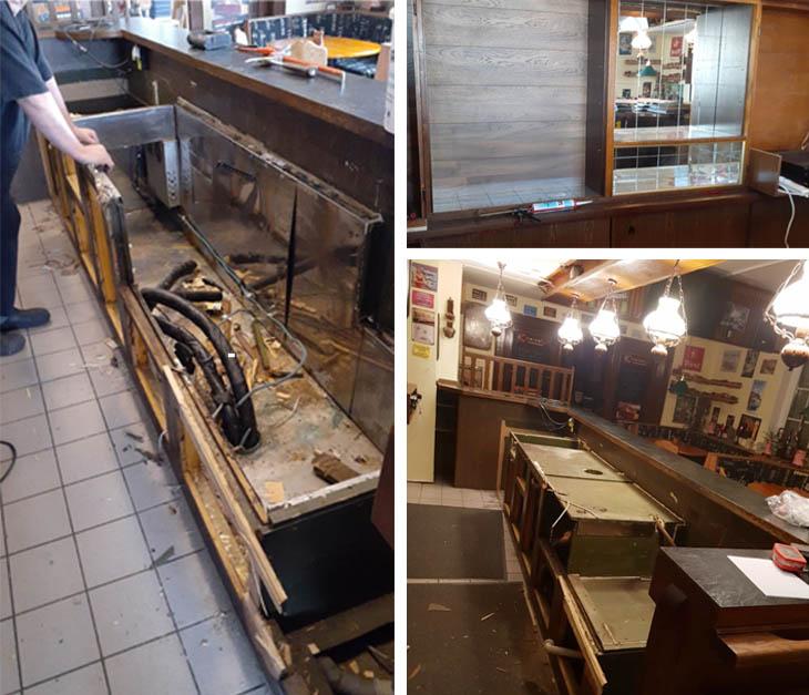 Das Foto rechts oben zeigt das rückwärtige Buffet, in dem die Spiegel gegen Holz ausgetauscht wurden. Die beiden anderen Fotos zeigenden Ausbau des Tresens. (Fotos: privat)