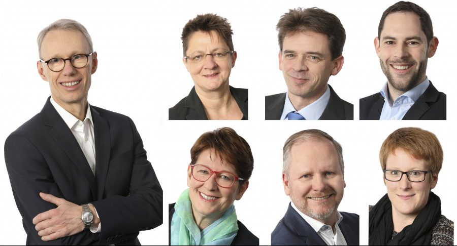 Das Krisenteam der WFG Kreis Unna berät weiterhin rat- und hilfesuchende Unternehmen aus dem Kreis Unna: Dr. Michael Dannebom (l.), obere Reihe: Viktoria Berntzen,, Jens Büchting, Ansgar Burchard (v.l.), untere Reihe: Sabine Radig, Jan Dettweiler, Anica Althoff (v.l.)  (Fotos: WFG)