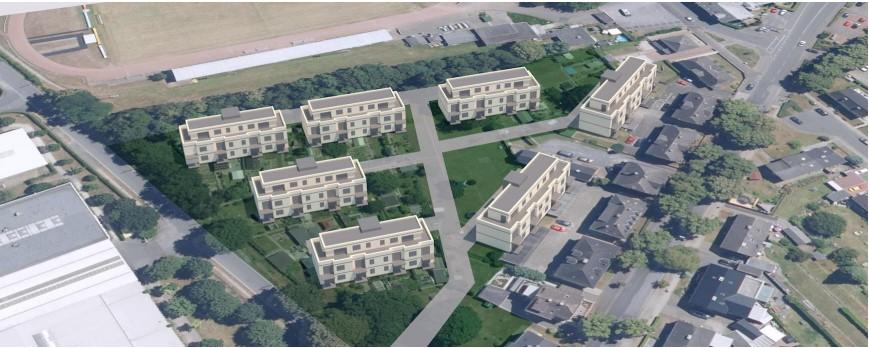 So könnte die Bebauung durch den Bauverein an der Montanhydraulikstraße aussehen. (Skizze: Bornemann Architekten)
