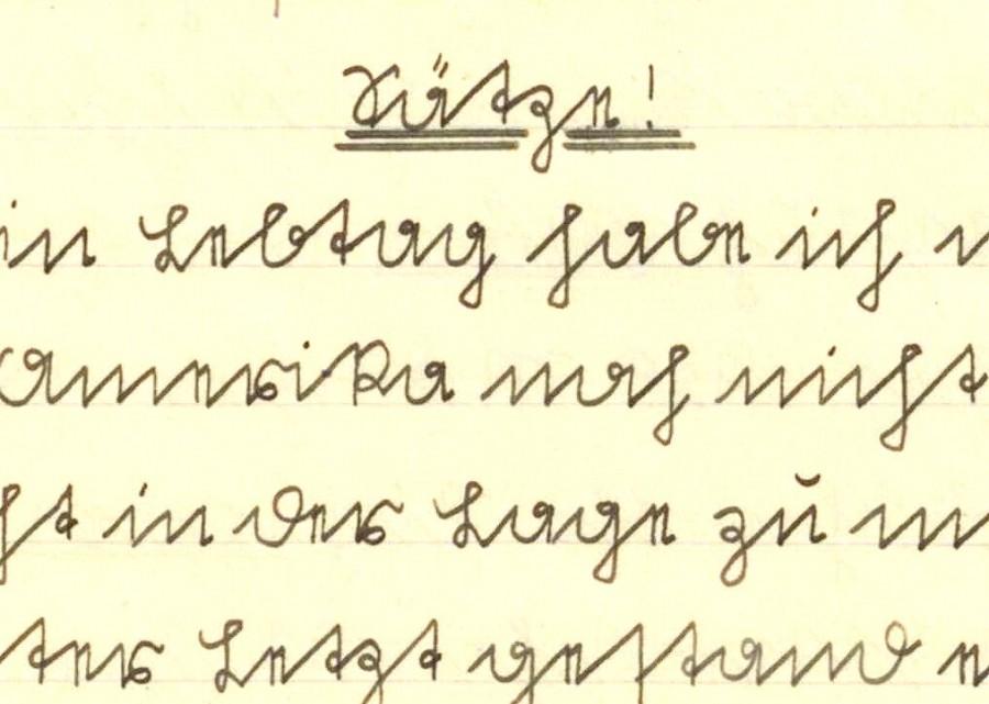 extprobe aus einem Schulheft 19933 in Sütterlin geschrieben.  (Foto: Historischer Verein)