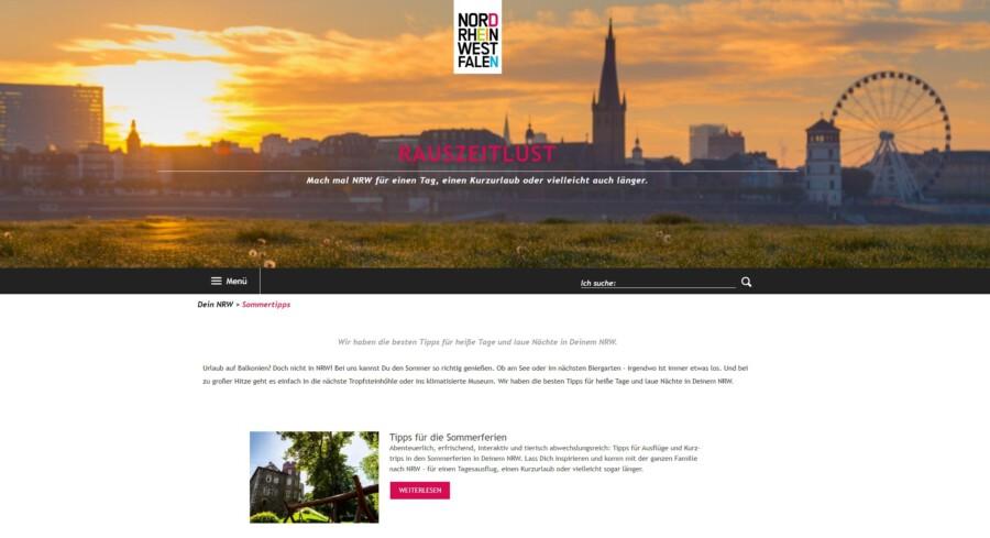 """Auf der Internetseite von Tourismus NRW wird für das Projekt """"Rauszeitlust!"""" und die schönsten Orte in NRW geworben. Die FDP sähe gerne auch Holzwickede dort beworben. (Screenshot)"""