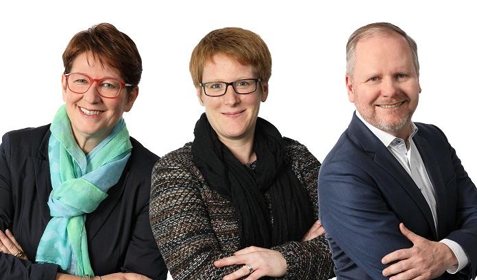 Sabine Radig, Anica Althoff und Jan Dettweiler (v. l.) vom Krisenteam der WFG stehen hilfesuchenden Unternehmen und Selbständigen aus dem Kreis Unna mit Rat und Tat zur Seite. (Foto: WFG Kreis Unna)