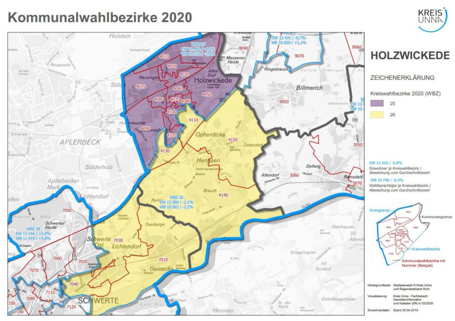 Diese Übersicht zeigt die Wahlbezirke in der Gemeinde Holzwickede. (Quelle: Kreis Unna)