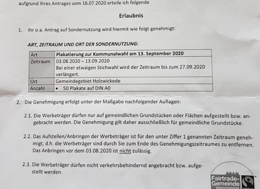 Auszug aus der Genehmigung des Ordnungsamtes zur Wahlwerbung.