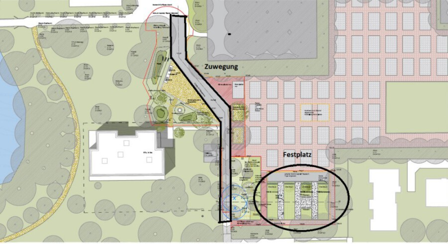 Dieser Lageplan zeigt die beiden Bereiche, auf die sich die Neugestaltungsmaßnahmen beschränken sollen. (Skizze: Gemeinde Holzwickede)