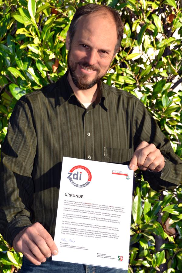 Freut sich über die Auszeichnung: Matthias Müller. (Foto: zdi)