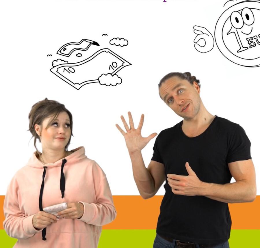 Die Referenten der digitalen Kinder-Uni Ekaterina Hermann und Jacob Risse vom FunnyMoney-Team. (Foto: Kreis Unna)