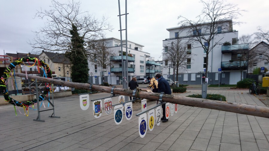 Die Schlüter und Schlepperfreunde haben am Samstagvormittag den Maibaum des Historischen Vereins ins Winterlager abtransportiert.  (Foto: privat)