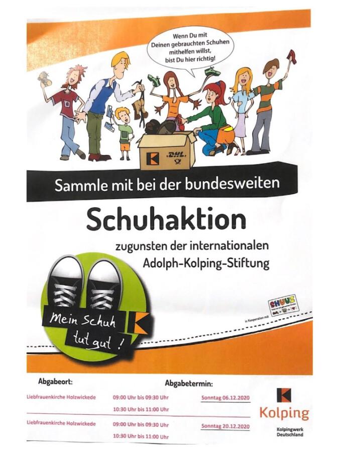 Der Flyer zur Schuhsammlung. der Kolpingsfamilie