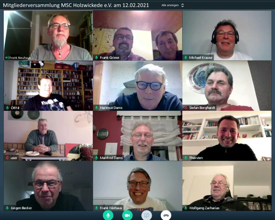 Erstmals führt der MSC Holzwickede seine Mitgliederversammlung am vergangenen Freuitag per Videokonferenz durch. (Sceenshort: F. Neuhaus MSC)