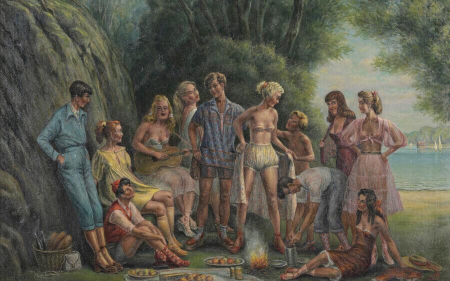 Herbert Rolf Schlegel, Jugendgruppe am Ammersee (Jeunesse doré), 1953, Öl auf Leinwand, 90 x 100 cm, Sammlung Murken, (Foto: Thomas Kersten)