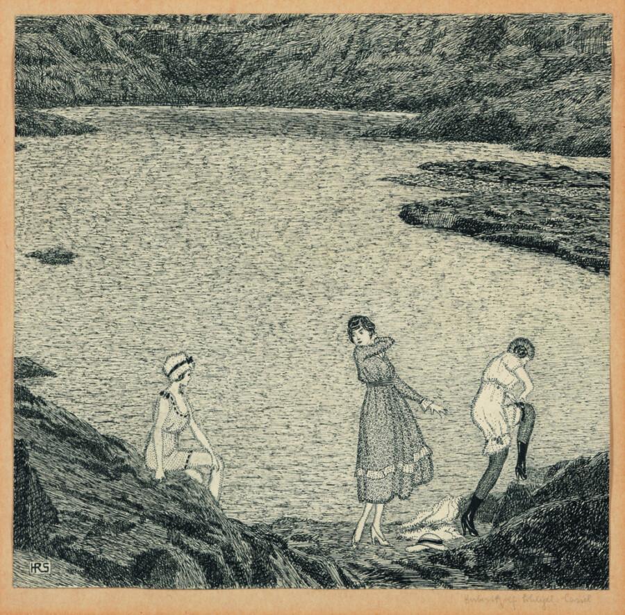"""Lichter, schwereloser  Kupferstich: """"Drei Frauen am Ufer"""" von 1919 (Bild: Thomas Kersten, Sammlung Murken, Museum Haus Opherdicke)"""
