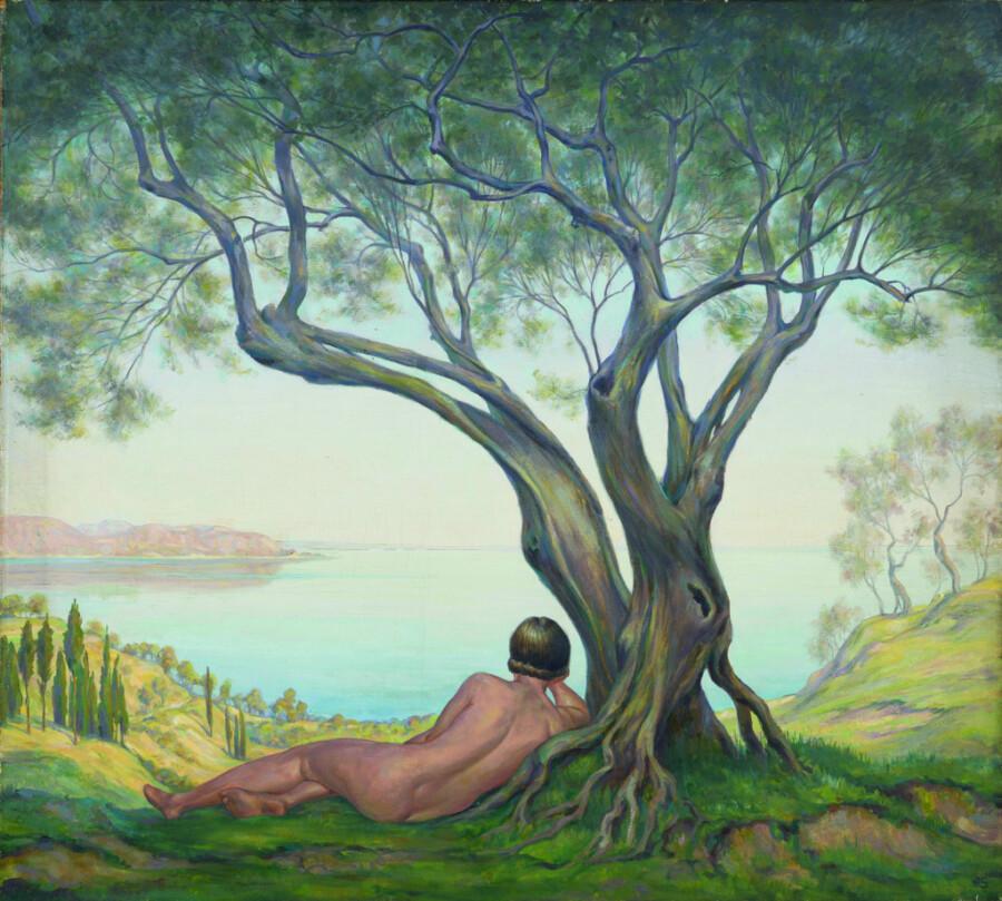 Liegender weiblicher Akt vormediterraner Kulisse. Herbert Rolf Schlegel malte das Bild - Öl auf Leinwand, um 1940. (Bild: Sammlung Murken, Thomas Kersten, Museum Haus Opherdicke)