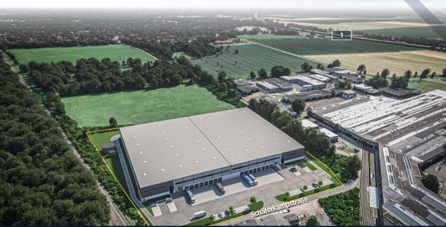 Mit dieser Animation wirbt Hillwood HWE Germany im Netz für den Logistikstandort Holzwickede. Der gelb umrandete Bereich zeigt den geplanten Hallenbereich. (Screenshot: Hillwood HWE)