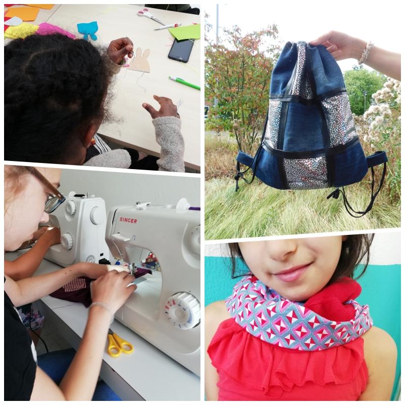 """Der Treffpunkt Villa bietet in den Osterferien ein Textilwerkstatt-Projekt unter dem Titel """"Stitch your style"""" ab. (Collage: Treffpunkt Villa)"""