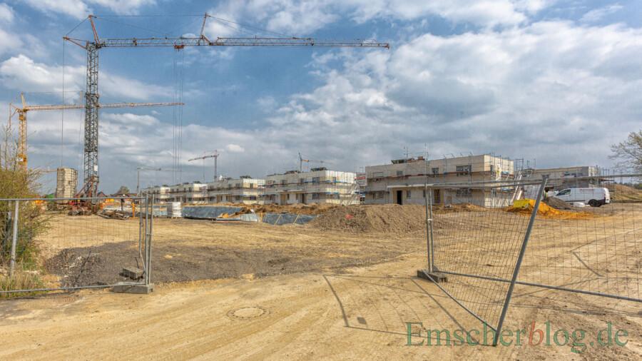 Im Wohnpark Emscherquelle werden auch noch 66 Sozialwohnungen errichtet. Erstmals nach vielen Jahr fließen dafür auch wieder Mittel für sozialen Mietneubau in Höhe von rd. 8,3 Mio. Euro nach Holzwickede an den Investor. (Foto: (P. gräber - Emscherblog)