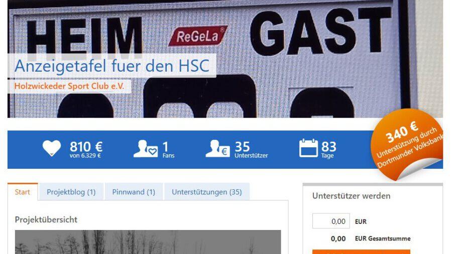 Auf dieser Internetseite (Screenshot) läuft die Crowdfunding-Kampagne des HSC: Sympathisanten und Unterstützer können dort für eine Anzeigetafel spenden. (Screenshot: dovoba.viele-schaffen-mehr.de)