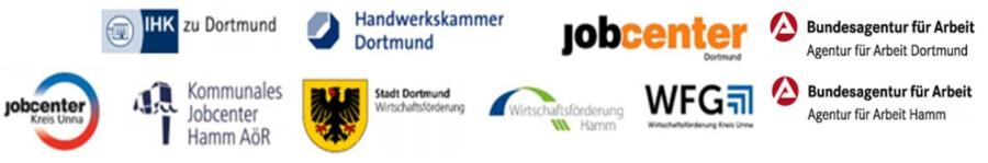 Die Kampagne ist eine gemeiname Initiative des AK Arbeitsmarkl Westfälische Ruhrgebiet: Logos der Mitglieder.