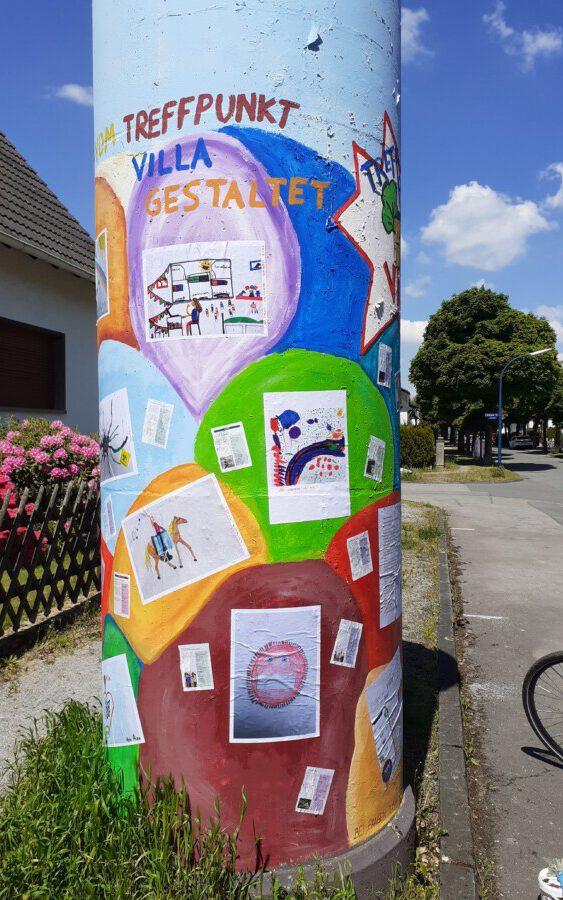 Auf der Litfaßsäule an der Lessingstraße ist noch Platz für weitere Bilder von den Kindern.  (Foto: Treffpunkt Villa)