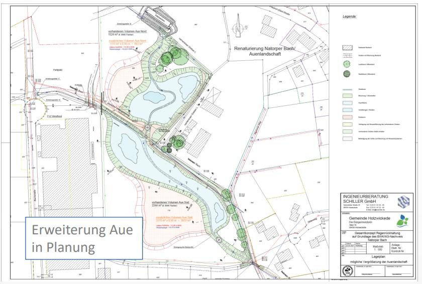 iese Skizze zeigt, wie die vorhandene Auenlandschaft am Krummen Weg um insgesamt 3.800 m² erweitert werden soll. (Foto: Gemeinde Holzwickede)