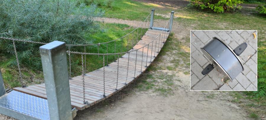 Die Hängebrücke im Emscherpark und auch die Pedale der Fitnessgeräte (kleines Bild) wurden erneuert, so dass die Geräte seit diesem Wochenende wieder uneingeschränkt genutzt werden können. (Fotos: Gemeinde Holzwickede)